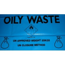 "30"" x 46"" - 500 gauge blue - Printed Oily Waste Bags (100 pack)"