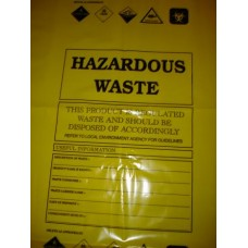 "30"" x 46"" - 500 gauge yellow - Printed Hazardous Waste Bags (100 pack)"